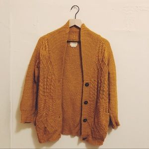 Urban Outfitters Chunky Cardigan, Mustard Yellow S